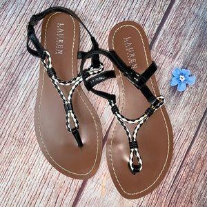 RALPH LAUREN Alexa Braided Leather Sandal Size 8.5